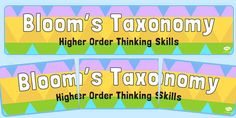 Head your 'Bloom's Taxonomy Higher Order Thinking Skills' display with this lovely themed banner! Features our own illustrations to help brighten up your classroom, and clearly define the theme of your topic board. The banner prints over 3 A4 sheets which you can piece together.