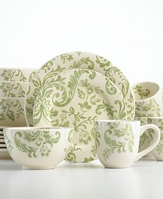 Gibson Dinnerware, Floral Damask 16 Piece Set - Casual Dinnerware - Dining & Entertaining - Macy's Bridal and Wedding Registry