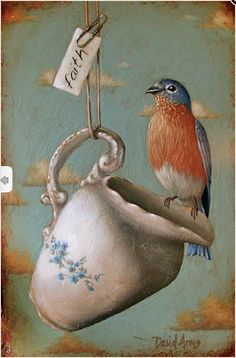 Artwork by David Arms for this Monday morning.Beautifully aged with an assortment of stunning birds, vintage wallpaper and textiles and,. Funny Bird, Arm Art, Vintage Images, Beautiful Birds, Oeuvre D'art, Blue Bird, Pet Birds, Illustration Art, Arms