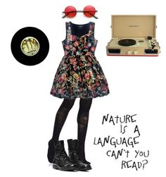 """""""manic pixie dream girl"""" by in-the-labyrinth ❤ liked on Polyvore featuring Pretty Polly, Forever 21 and Crosley"""