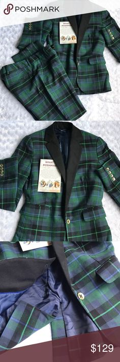 """TOMMY HILFIGER GREEN & BLUE PLAID 2PC PANTS SUIT Waist 14.5"""" Inseam 28"""" Hips 19"""" Belt loops. Two back flat pockets still closed. Two front pockets. Button double slide zipper closure. Front rise 8"""" Rear 12"""" Material: 42% Wool 35% Polyester 17% Viscose 6% Elastane. Jacket: Shoulder to hem 23"""" Waist closed 14"""" (tailored) Sleeve 24"""" Bust 16"""" Black lapel two front flap pockets (still closed). One gold button closure. 4 gold buttons on each sleeve that are functional. Fully lined. Back slit is…"""