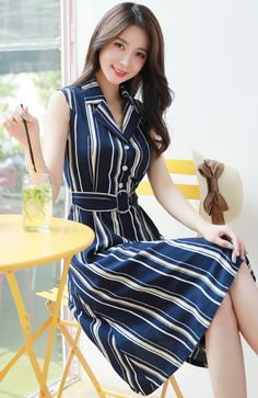 StyleOnme_Pinstripe Belted Sleeveless Collared Dress #navy #stylish #koreanfashion #kstyle #kfashion #dress #pinstripe #feminine #summertrend #seoul