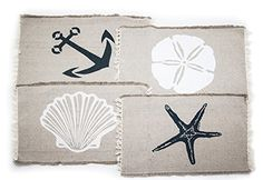 """Ahoy! Every day can be a day at the beach with these casual and decorative Seanside place mats. Each (13'x9"""") mat has a beige background with a brightly colored nautical design in the center. Each set includes a navy blue anchor, a white seashell, a white starfish and a navy blue star fish.Each is made of 100% cotton and machine washable."""