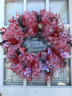 Christmas wreath for front door, Front door Christmas wreath, Red & White Christmas wreath, Deco wreath, Holiday wreath, Holiday Decor by DecoWreathBoutique on Etsy