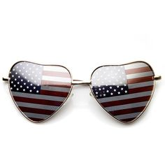 902d1819dc8 Heart Shape American Flag USA Patriotic Womens Metal Sunglasses ( 10) ❤  liked on Polyvore featuring jewelry