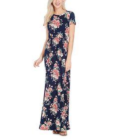Reborn J Navy Floral Maxi Dress - Plus | zulily
