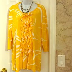 Effort less yellow blouse11 Ruffled front loose fit long yellow blouse. Citiknits Tops Blouses