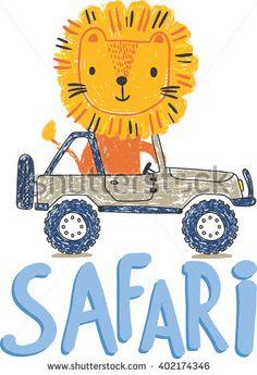cute lion making safari, safari adventure with jeep vector illustration