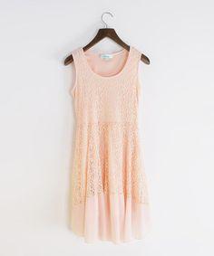 Love this Pink Lace Sleeveless Dress by MINTYGOGO on #zulily! #zulilyfinds