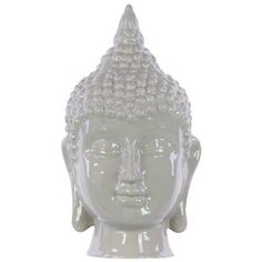 Ceramic Buddha Head With Pointed Ushnisha - Mocha, Green