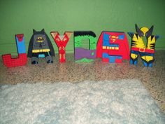 DEF a project I would love to give a whirl. Tons of possibilities here if my painting skills are up to par. Superhero Letters, Superhero Room, Superhero Characters, Superhero Party, Letter Art, Letter Blocks, Baby Crafts, Crafts For Kids, Boy Room