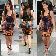 The dress is stunning ❤️ Her Style, Kim Kardashian, Curves, Peplum, Cold Shoulder Dress, Couture, Sexy, Skirts, Ankara