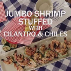 These juicy jumbo shrimp are stuffed with a flavorful mixture of garlic, jalapeños, scallions and cilantro that also adds vibrant color to this two-bite appetizer.