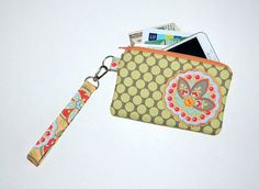 Star Paisley on Full Moon Polka Dot - Applique Wristlet Purse with Removable Strap and Interior Pocket