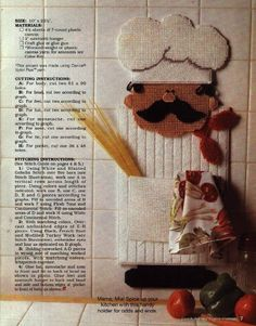 cute chefs in plastic canvas Plastic Canvas Crafts, Plastic Canvas Patterns, Kitchen Canvas, Halloween Beads, Canvas 5, Bargello, Craft Patterns, Diy Party, Needlepoint