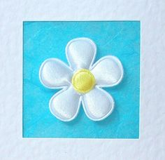 Thank You Card - white satin flower with coloured satin centre - teacher, mum, daughter, sister, aunt, nan, grandmother, female friend