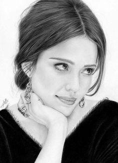 Retrato a lápiz de Jessica Alba ˗ˏˋ 𝙵𝚘𝚕𝚕𝚘𝚠 : 4 : 𝙵𝚘𝚕𝚕𝚘𝚠 ˎˊ˗ . Pencil Portrait Drawing, Realistic Pencil Drawings, Girly Drawings, Portrait Sketches, Pencil Art Drawings, Art Drawings Sketches, Photo Portrait, Portrait Art, Celebrity Drawings