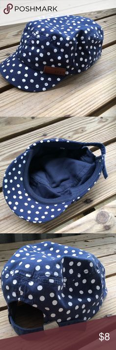 Roxy brand military style hat Navy blue with white polka dots. Adjustable strap on back. Like new condition. Only when a couple of times. I am cleaning out my closet and have lots of items listed cheap. I am open to REASONABLE offers on my items if YOU'RE BUYING MORE THAN ONE ITEM FROM MY CLOSET but please keep in mind that most of my items are listed for fairly cheap and Poshmark takes a fairly large commission which leaves me with only a few dollars per item as it is. Roxy Accessories Hats