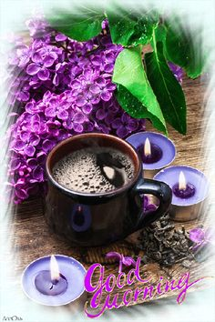 flower tea - fragrant spring flower tea on the background of burning candles and lilac bouquet Good Morning Coffee, Good Morning Good Night, Coffee Break, Chocolates, Café Chocolate, Chocolate Caliente, Coffee Pictures, Flower Tea, Coffee Cafe