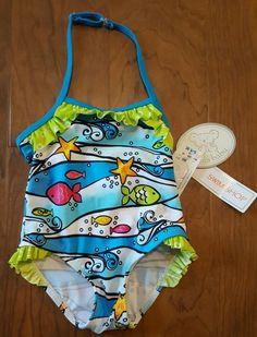 17c25ad9ef New Koala Baby Girl 9 Months 9M Swimsuit New One Piece Blue Green Fish |  eBay