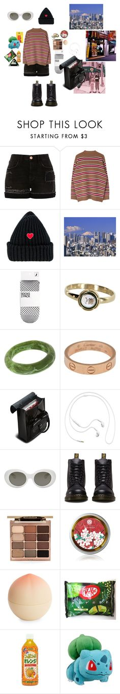 """""""*japanese disposition*"""" by waveoftenderness ❤ liked on Polyvore featuring River Island, H&M, Vintage, Dinosaur Designs, Cartier, Dr. Martens, Samsung, Acne Studios, Stila and Tony Moly"""