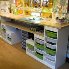 Affordable craft room ideas - Using Ikea kids storage and Re-Store countertops