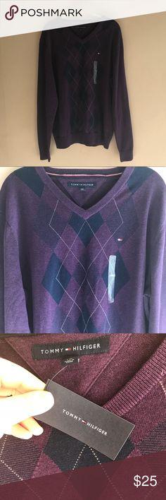 Tommy Hilfiger Pullover Knit V Neck Argyle Sweater NWT Tommy Hilfiger Mens Pullover Knit V Neck Long Sleeve Argyle Sweater.  Deep purple color.  No flaws noted. Tommy Hilfiger Sweaters V-Neck