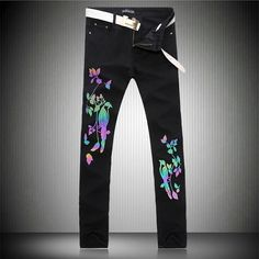 (29.68$)  Watch now  - New Arrival Luminous Bird Floral Printed Jeans High Quality Black Denim Overalls Mens Fashion Skinny Biker Jeans Brand Clothing