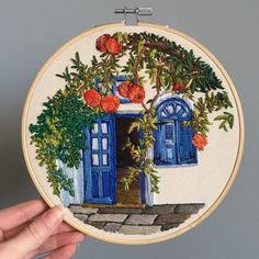 White washed walls and blue doors, can only mean one thing 🇬🇷 this has already sold but I had to share the finished piece. For anyone asking, they are pomegranates and this is Lindos, in Rhodes. Diy Embroidery Thread, Diy Embroidery Patterns, Abstract Embroidery, Flower Embroidery Designs, Simple Embroidery, Learn Embroidery, Hand Embroidery Stitches, Couture, Decoration