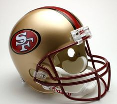 Riddell San Francisco 49ers Deluxe Replica 1996-2008 Football Helmet Full Size  https://allstarsportsfan.com/product/riddell-san-francisco-49ers-deluxe-replica-1996-2008-football-helmet-full-size/  Full size helmet Team logo decals displayed on both sides of the helmet Size: L 12.75″ x W 9.25″ x H 9.75″Constructed with an ABS plastic shell