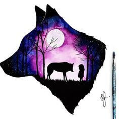 51 Trendy tattoo wolf girl drawing wolves 51 Trendy tattoo wolf girl drawing wolves This image has get. Cute Animal Drawings, Cute Drawings, Drawings Of Wolves, Wolf Painting, Gouache Painting, Wolf Artwork, Wolf Spirit, Anime Wolf, Galaxy Art