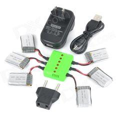 WSX-X6A 6 x 300mAh batteries + 1 to 6 Balance Charger + TOL Adapter + Power Adapter + Data Cable Kit. Color Black + Green Model WSX-X6A Material Polymer batteries Quantity 1 Set Compatible Models Hubsan: H107L, H107C, H107D; UDI: U816, U816A; WL: V202, V939, V252; Battery Actual Capacity 300 mAh Nominal Capacity 300 mAh Battery Type Li-polymer battery Voltage 3.7 V Input Hertz 50~60 Hz Input Current 2000 mA Input Voltage 3.7 V Output Current 2000 mA Output Voltage 3.7 V Power Adapter US…