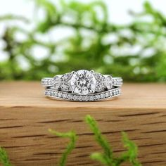 The perfect wedding set for the Vintage bride to-be.  View the Charisma Butterfly Diamond Wedding Set at www.MiaDonna.com