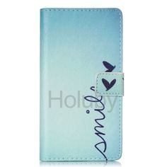 Wallet Style Magnetic Flip Stand TPU+PU Leather Case  for Huawei P8 Lite with Card Holders - Smile & Hearts