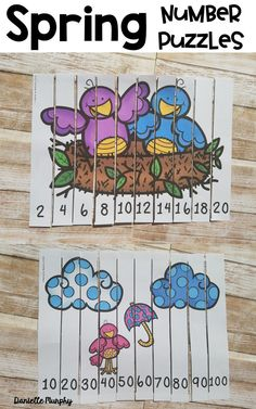 Spring Number Puzzles for Kindergarten/1st Grade! Counting by 1's, Skip counting by 2's, 5's and 10's--perfect for math station or early finisher activity!
