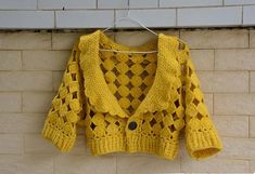 crochet sweater cardigan in mustard  Measurement: Bust: M (35-37) Length: 14 Sleeeve: 10 Crocheted with arcylic yarn, hand wash cool, roll in a towel to remove excess water and lay flat to dry.  Your item will be carefully handmade just for you with close attention to detail. If you need it to be