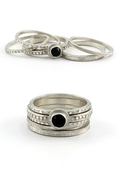 Black Onyx Stackable Ring Set of 5 | Handcrafted jewelry by Amanda Hagerman | Made in the USA | #shopifypicks #americanmadeshow