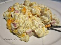 Honest to Goodness Eats - Cauliflower Mac and Cheese with Ham Casserole - Low Carb Recipe