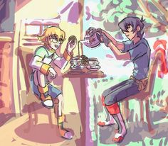 Keith and Pidge having a tea party together from Voltron Legendary Defender