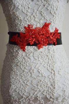 Black Sash Belt Bridal Lace Belt Red Sequined by HandMadeBloom