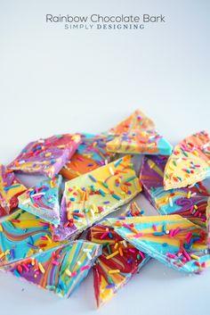 Rainbow Chocolate Bark Recipe | Simply Designing