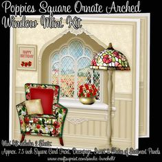 Poppies Square Ornate Arched Window Mini Kit by Sandie Burchell A beautiful 7.5 inch Square Ornate Arched Window adorned with Furniture and a lovely landscape view. The Mini Kit has 2 pages which includes a 7.5 inch square approx Card Front with Decoupage, Matching Insert and Sentiment Panels. Sentiments included are:  Happy Birthday, Happy Mother's Day, Especially For You!, With Love, Get Well Soon or Blank for your own peel-off lettering or stamp. The finished card will fit into a…