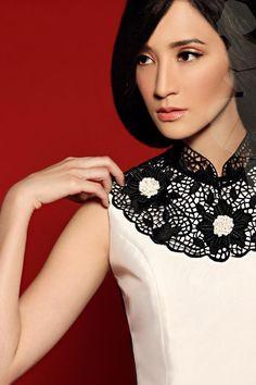 #edgy cheongsam #detachable collar #SisSae qipao #Qipao Cheongsam Modern, Crochet Lace Collar, Deep Winter, Detachable Collar, Hanfu, Ao Dai, Mandarin Collar, Chinese Style, Traditional Dresses