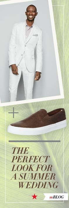 752a3d3a0e Fact  A white suit + neutral-colored slip ons is the perfect way for