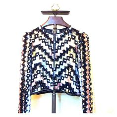 CHEVRON PRINT Vintage Sequin Blazer (80's) **size medium**  **colors: black, blush, pearl, and gold**. **NEVER been worn / tags still on** **minor natural aging** Vintage Jackets & Coats Blazers