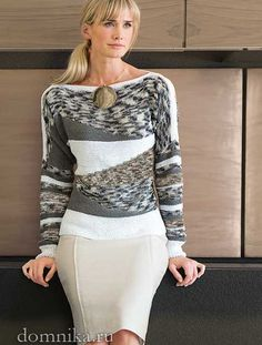 элегантный женский пуловер спицами, фото Crochet Jacket, Pulls, Cool Outfits, Victoria, Knitting, Blouse, Long Sleeve, Sleeves, Jackets