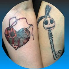 Jack and Sally key and locket done by @oogie_tattoos ❤️ #inkeddisney