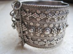 Yemen | Antique Elaborate Bedouin Solid Silver Bracelet | More than likely,  this was part of the dowry of a rich Bedouin woman, because the more work there is on a bracelet and the finer the quality the higher the price.