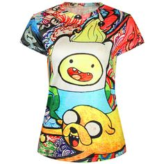 Yellow Womens Crew Neck Adventure Time Cartoon Printed T-shirt ($14) ❤ liked on Polyvore featuring tops, t-shirts, cartoon t shirts, white crew t shirt, crew neck tee, white t shirt and white crew neck tee