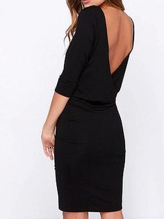 Shop Black Half Sleeve Backless Bodycon Dress from choies.com .Free shipping Worldwide.$14.99